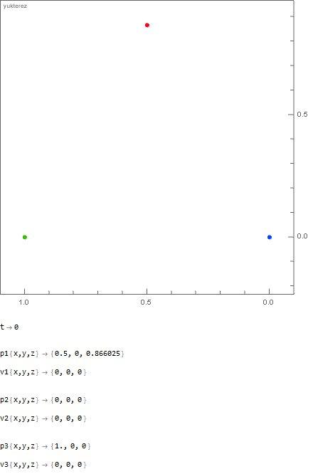 1000kg vs 100 kg vs 1 kg, initial distance: 1 meter