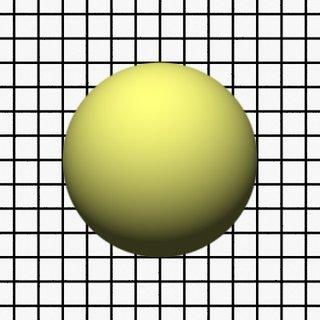Render 1: Sphere in front of a grid plane, narrow aperture
