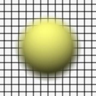 Render 3: Sphere in front of a grid plane, focus between grid and sphere