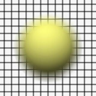 Render 4: Sphere in front of a grid plane, focus behind both grid and sphere