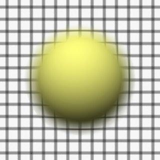 Render 5: Sphere in front of a grid plane, focus between grid and sphere