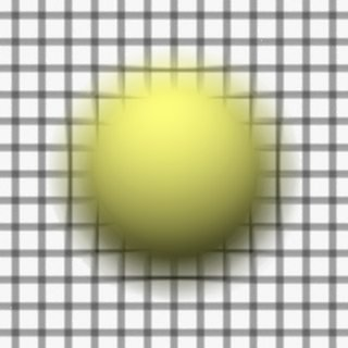 Render 6: Sphere in front of a grid plane, focus behind both grid and sphere